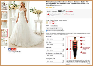 premium selection f208f b7158 Günstige Brautkleider aus China: So geht's > Shops, Maße ...